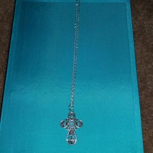 Turquoise and Pewter Cross Necklace